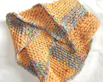 Crochet Infinity Scarf Sky Blue Butter Maize Yellow Wrap it Once or Twice Around Colorful