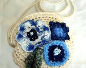 Handmade Crochet Boho Purse Cream Blue Flowers Freeform Crochet Embellishment Gypsy  French Market Chic Hippie