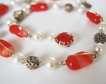 Vintage Red Art Glass Necklace, 60's Signed Japan