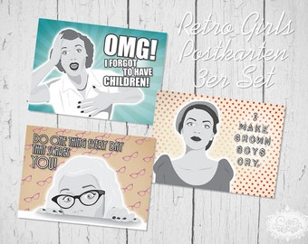 "cute as a button ""Retro Comic Girls"" Postkarten 3er-Set"