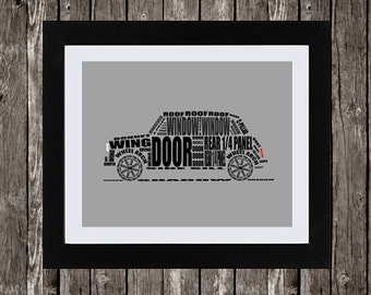 Classic Mini Cooper Automotive Printable Art, Typographic Car, Parts of a Car, Car Part Names, Gray, Black, White, Typography, 14 x 11""