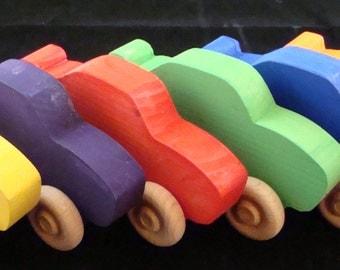 Handmade Wooden Race Cars, set of 5