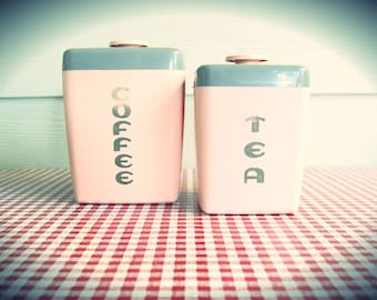 Vintage Pink Lustroware Coffee & Tea Nesting Kitchen Storage Containers in that Great ole' vintage plastic...