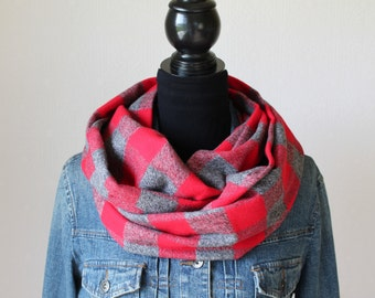 Buffalo Plaid Infinity Scarf, Flannel Scarf, Plaid Scarf, Womens Scarf, Red and Gray Scarf, Winter Scarf, Back to School