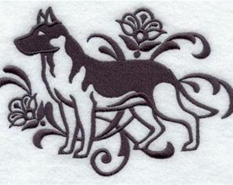 German Shepard Dog EMBROIDERED Pair of 15 x 25 inch hand towels for kitchen / bath