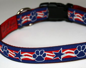 Paws & Stars Patriotic Ribbon Dog Collar, Adjustible, with Optional Matching Leash