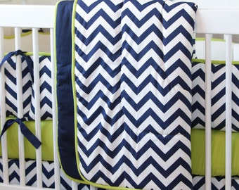 Baby Boy Crib Bedding: Navy and Citron Zig Zag Crib Comforter by Carousel Designs