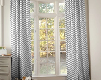 "Gender Neutral Decor:White & Gray Zig Zag Drape-ONE DRAPERY PANEL-Choose Your Length 64"" x 42"" / 84""  x 42"" /  96"" x 42"" by Carousel Designs"