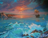 Sunset At the Sea_Bead Emroidery Picture