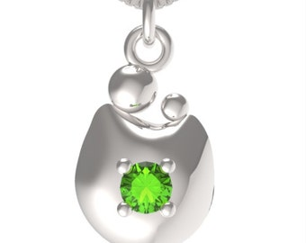 "Birthstone August Peridot Sterling Silver MOM&CHILD pendant with an 18"" Sterling Silver Necklace"