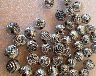 Antique silver rose beads