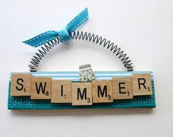 Swimmer Swim Trunks Scrabble Tile Ornament