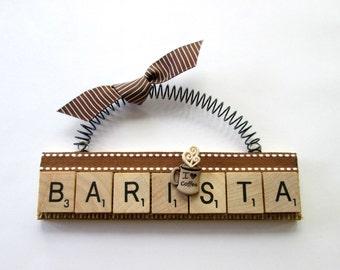 Barista Coffee Scrabble Tile Ornament