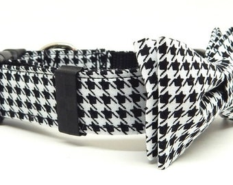 Dog Bow Tie and Collar Combo - Happy Houndstooth  Sizes X-Small, Small, Medium, Large, X-Large, XX-Large