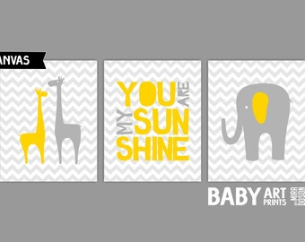 Yellow and grey Nursery canvas art, Set of 3 8x10. You Are My Sunshine, Giraffe, Elephant. ( S810003 )