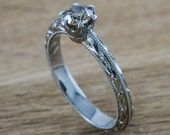Sepia no. 2- 14kt white gold hand engraved vintage style engagement ring set with .32ct cognac diamond- conflict free.