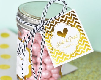 Gold Favor Tags - Gold Wedding Favor Tags Personalized Wedding Favor Tags - Pink and Gold Bridal Shower Favors (EB4005FW) set of 20 TAGS