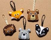 Forest Friends Felt Decorations - Fox, Bear, Badger, Hedgehog