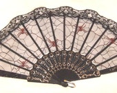 Fishnet Fan, BLACK frame & Lace Trim,  Red Spiders and Black Webs, Asian/Japanese Style Folding Fan, Cosplay, Decor, Accessory
