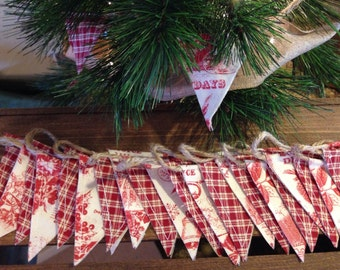 Christmas Red Toile Mini-Bunting - Flag Pennant Garland