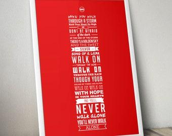 YNWA Lyrics - Liverpool FC Print (Red)
