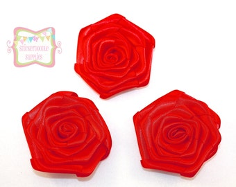 Red Satin Rolled Rosette 3 Pieces  #D100