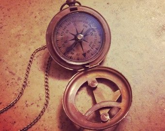BEST SELLER - Vintage Style Sundial Compass Necklace Nautical Antique Brass, Glass, Charm & Chain