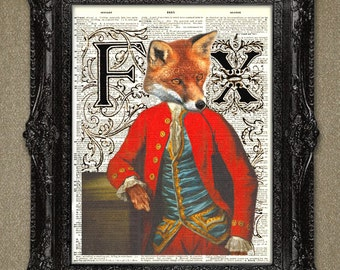 Dictionary art print-Fox illustration upcycled dictionary page book art print. Animals dictionary page print.