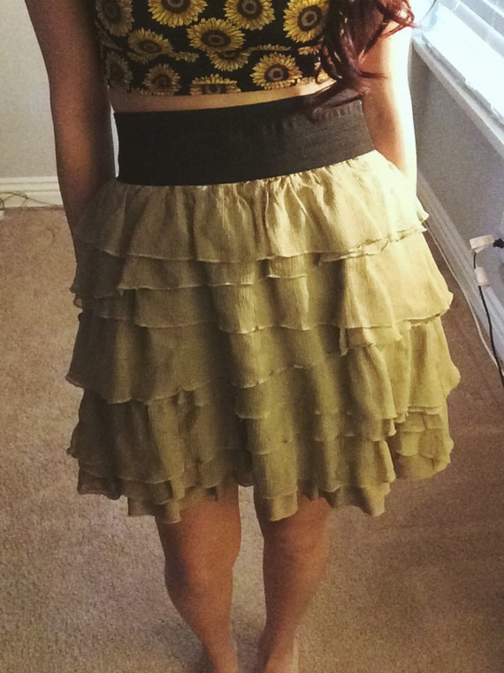 beige ruffled high waisted skirt by joyvisionapparel on etsy