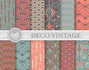 Art Deco Digital Paper: VINTAGE ART DECO Patterns Pattern Prints, Art Deco Download, Art Deco Backgrounds Print