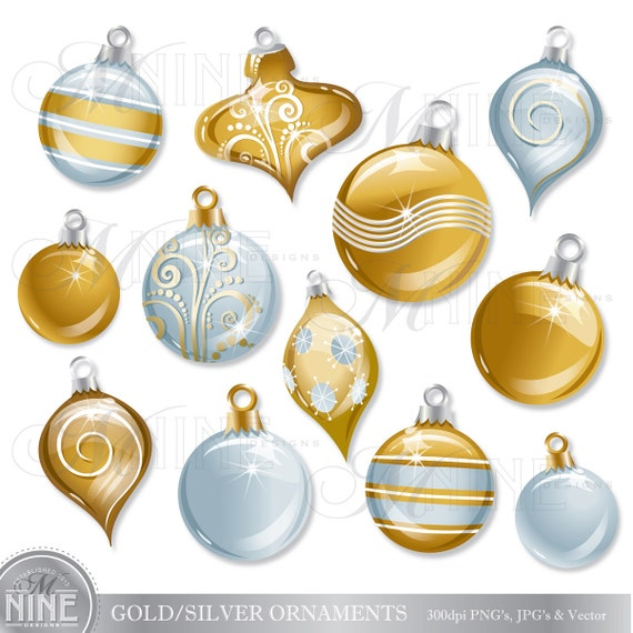 Christmas clipart silver gold holiday ornaments clip art