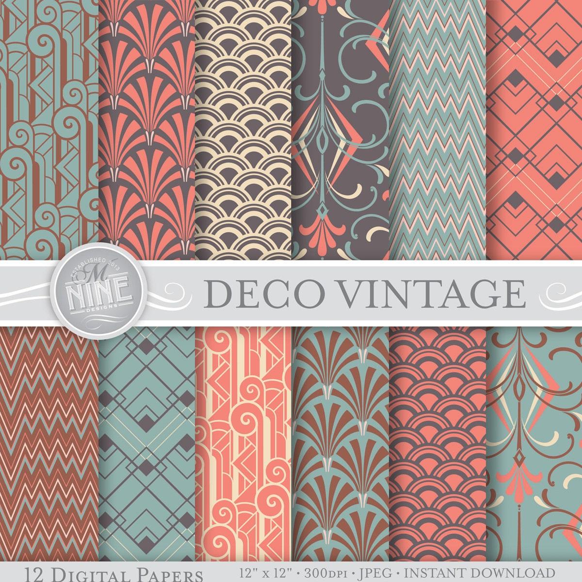 Art deco digital paper vintage art deco patterns pattern for Classic art deco