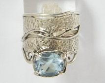 Shablool Didae Israel Ring Sterling Silver Blue Oval Ladies Women