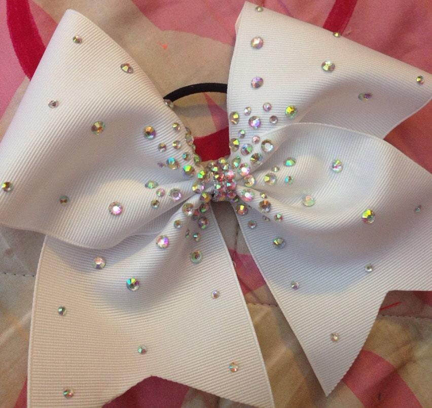 White Cheer Bow with rhinestones