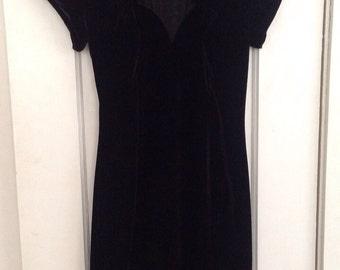 vintage black velvet party dress