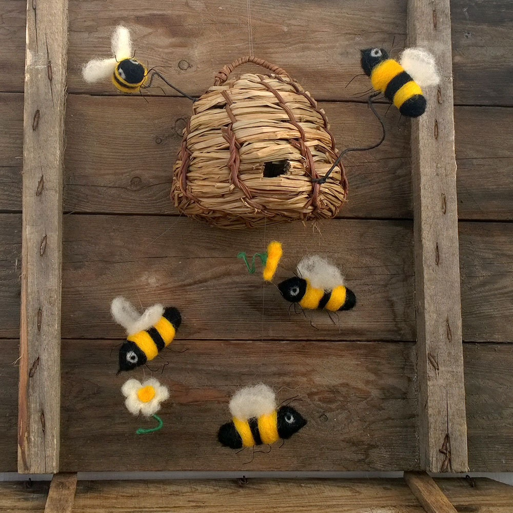 felted mobile bumble bee and wooden beehive yellow white