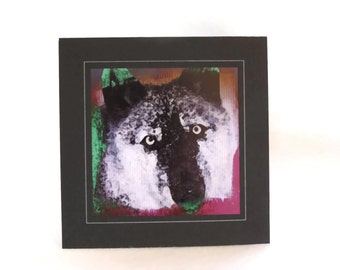 Wolf Art Greeting Card, Wolf Note Card, Abstract Wolf Note Card
