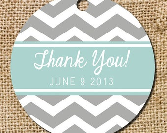 Chevron Gift or Favor Thank You Tag - Set of 10
