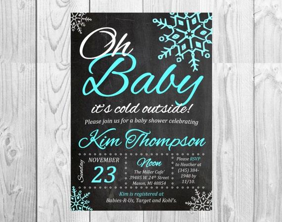 winter wonderland baby shower chalkboard invitation snowflake