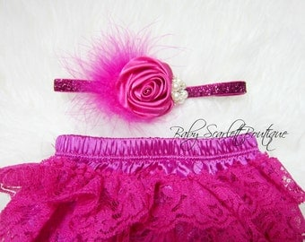 Deep Pink Baby Girl Lace Ruffle Bloomer,Diaper Cover and Headband Set