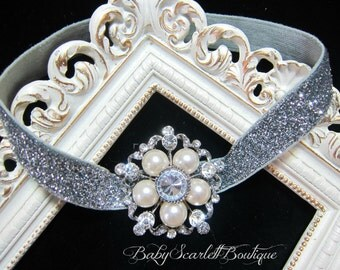 Vintage Silver Pearl Rhinestone Headband,Baby Girl Headband,Girl Headband