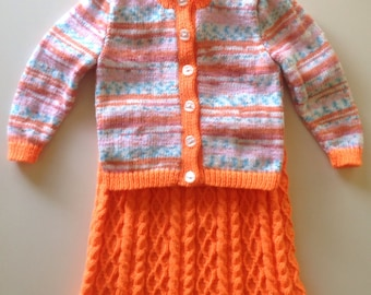 Handmade Knitted Child's Dress and Cardigan