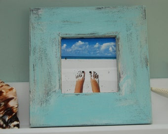 Distressed beach picture frame 4 x 4 opening (shown in turquoise)