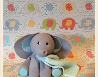 Baby Elephant cake topper with fondant