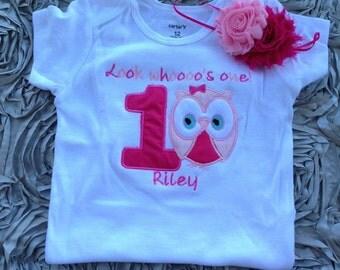 Pink look whoooo's one owl birthday shirt - 1st birthday shirt and headband - custom birthday shirt