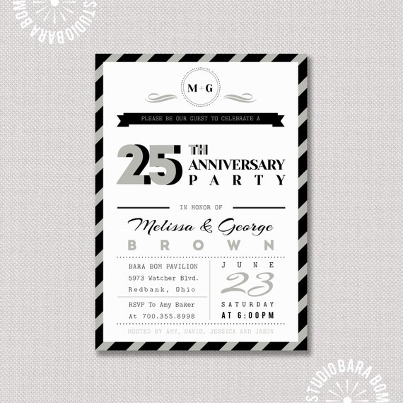 Items Similar To 25th Wedding Anniversary Invitation
