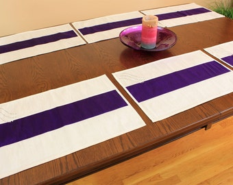 Sophisticated Two-Tone Embroidered Placemats, Set of 6 (Purple)