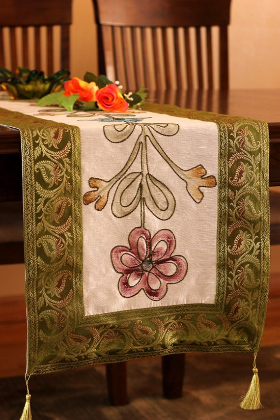 Hand painted 120 inch by 17 inch long table runner green for 120 table runners