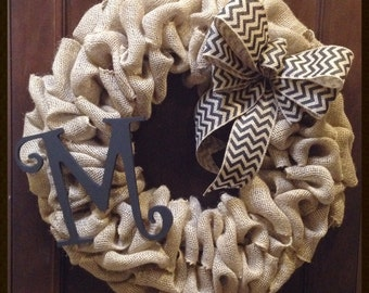 Chevron burlap wreath with monogram- front door wreath- year round wreath- initial wreath- burlap wreath- winter wreath