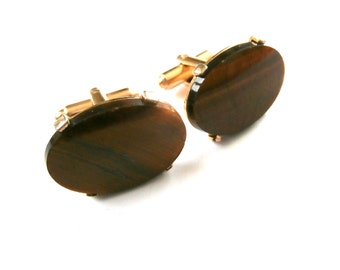 Vintage Dante Cuff Links Prong Set Authentic Piece  Oval Tigers's Eye Gemstone Natural Stone  Gold Tone 1960's  Mod Men's Jewelry